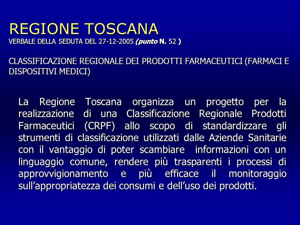 REGIONE TOSCANA VERBALE DELLA SEDUTA DEL 27-12-2005 (punto N. 52 ) CLASSIFICAZIONE REGIONALE DEI PRODOTTI FARMACEUTICI (FARMACI E DISPOSITIVI MEDICI)