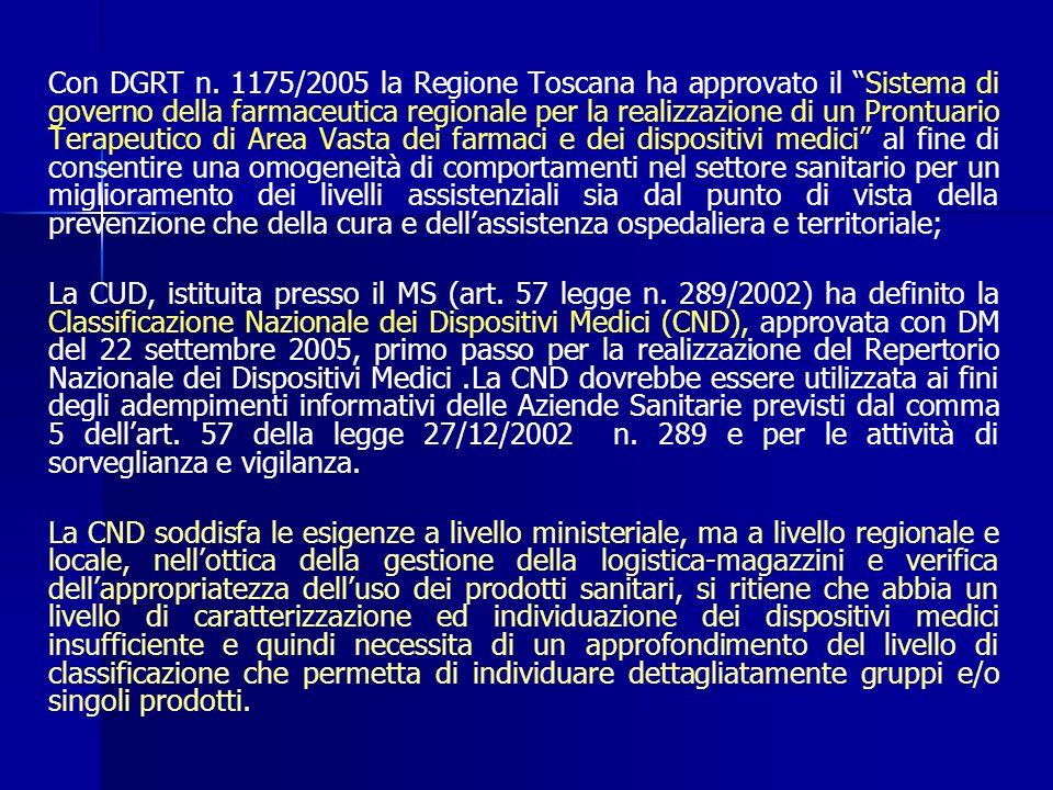 Con DGRT n. 1175/2005 la Regione Toscana ha approvato il Sistema di governo della farmaceutica regionale per la realizzazione di un Prontuario Terapeu