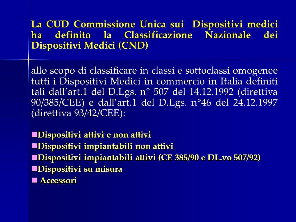 La CUD Commissione Unica sui Dispositivi medici ha definito la Classificazione Nazionale dei Dispositivi Medici (CND) allo scopo di classificare in cl