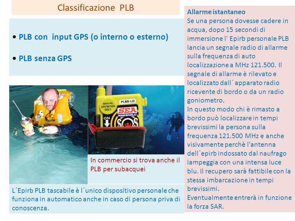 PLB con input GPS (o interno o esterno) PLB senza GPS Classificazione PLB In commercio si trova anche il PLB per subacquei Allarme istantaneo Se una p
