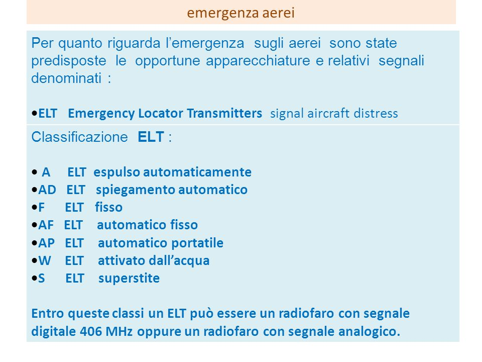 Per quanto riguarda lemergenza sugli aerei sono state predisposte le opportune apparecchiature e relativi segnali denominati : ELT Emergency Locator T