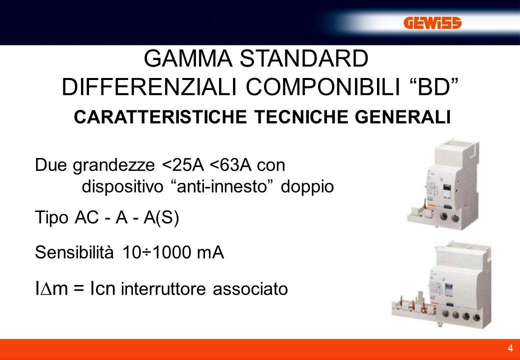 4 CARATTERISTICHE TECNICHE GENERALI Due grandezze <25A <63A con dispositivo anti-innesto doppio Tipo AC - A - A(S) Sensibilità 10÷1000 mA I m = Icn interruttore associato GAMMA STANDARD DIFFERENZIALI COMPONIBILI BD