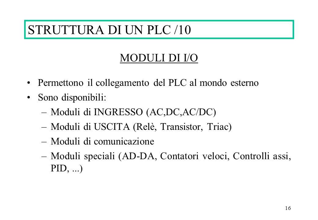 16 STRUTTURA DI UN PLC /10 MODULI DI I/O Permettono il collegamento del PLC al mondo esterno Sono disponibili: –Moduli di INGRESSO (AC,DC,AC/DC) –Modu