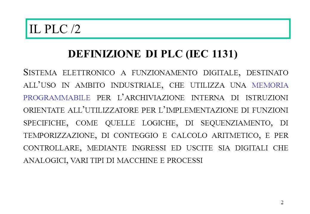 2 DEFINIZIONE DI PLC (IEC 1131) S ISTEMA ELETTRONICO A FUNZIONAMENTO DIGITALE, DESTINATO ALL USO IN AMBITO INDUSTRIALE, CHE UTILIZZA UNA MEMORIA PROGR