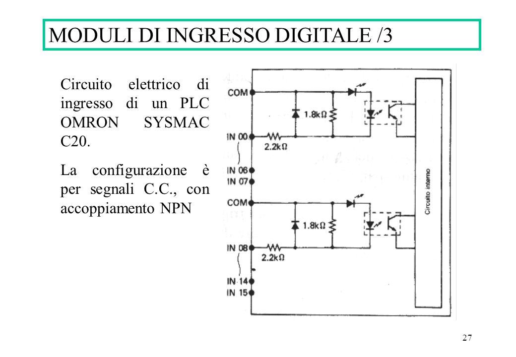 27 MODULI DI INGRESSO DIGITALE /3 Circuito elettrico di ingresso di un PLC OMRON SYSMAC C20. La configurazione è per segnali C.C., con accoppiamento N
