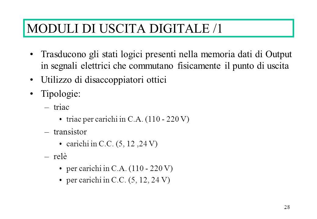 28 Trasducono gli stati logici presenti nella memoria dati di Output in segnali elettrici che commutano fisicamente il punto di uscita Utilizzo di dis