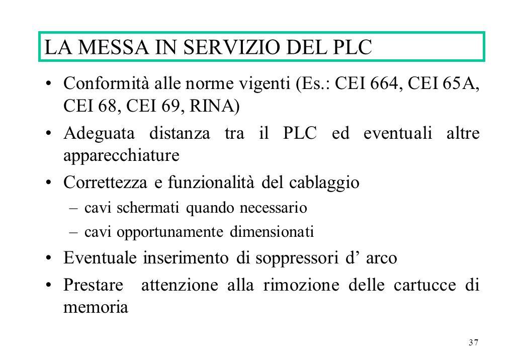 37 Conformità alle norme vigenti (Es.: CEI 664, CEI 65A, CEI 68, CEI 69, RINA) Adeguata distanza tra il PLC ed eventuali altre apparecchiature Corrett