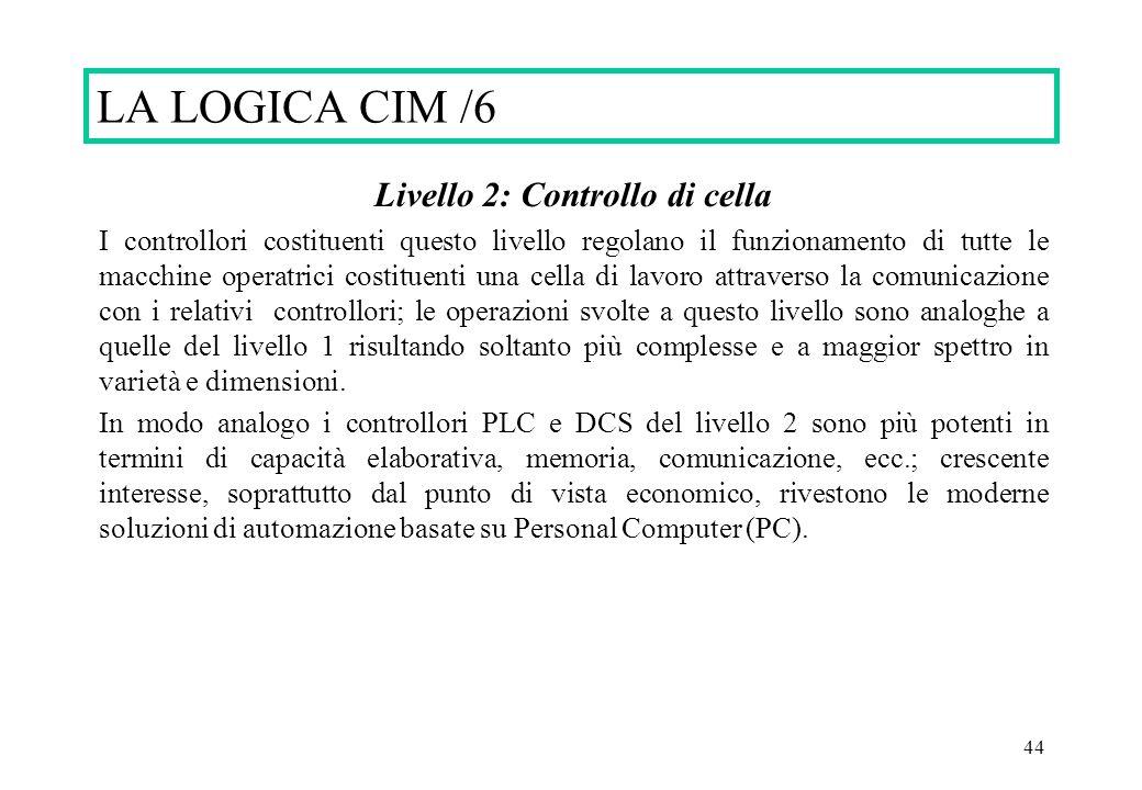 44 Livello 2: Controllo di cella I controllori costituenti questo livello regolano il funzionamento di tutte le macchine operatrici costituenti una ce