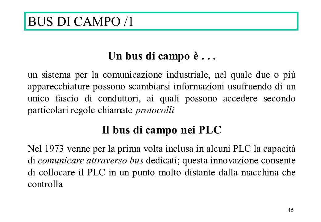 46 BUS DI CAMPO /1 Un bus di campo è... un sistema per la comunicazione industriale, nel quale due o più apparecchiature possono scambiarsi informazio