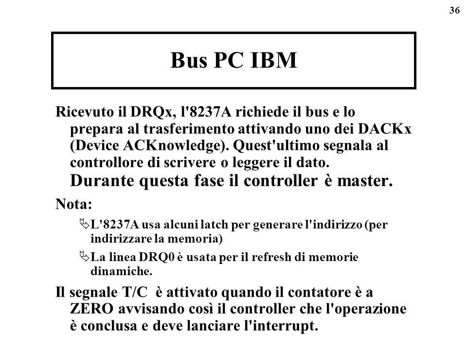 36 Bus PC IBM Ricevuto il DRQx, l'8237A richiede il bus e lo prepara al trasferimento attivando uno dei DACKx (Device ACKnowledge). Quest'ultimo segna