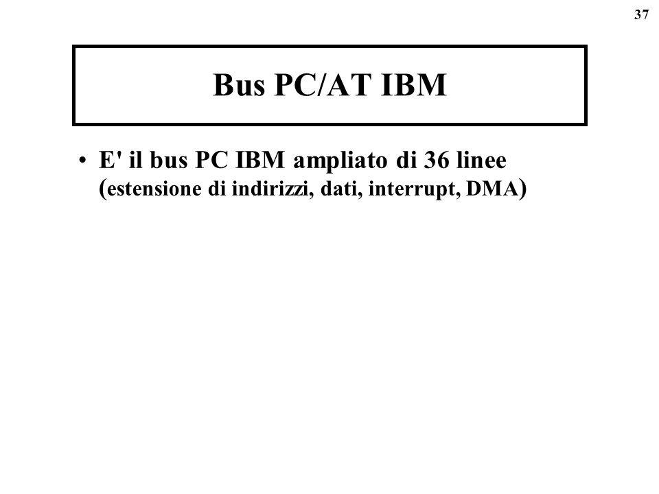 37 Bus PC/AT IBM E' il bus PC IBM ampliato di 36 linee ( estensione di indirizzi, dati, interrupt, DMA )