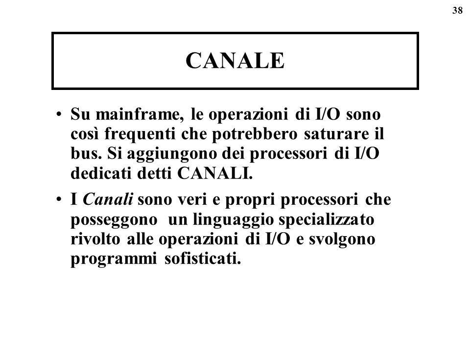 38 CANALE Su mainframe, le operazioni di I/O sono così frequenti che potrebbero saturare il bus. Si aggiungono dei processori di I/O dedicati detti CA