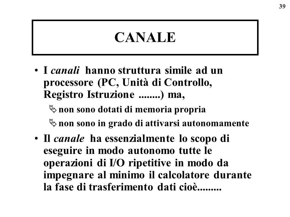 39 CANALE I canali hanno struttura simile ad un processore (PC, Unità di Controllo, Registro Istruzione........) ma, non sono dotati di memoria propri