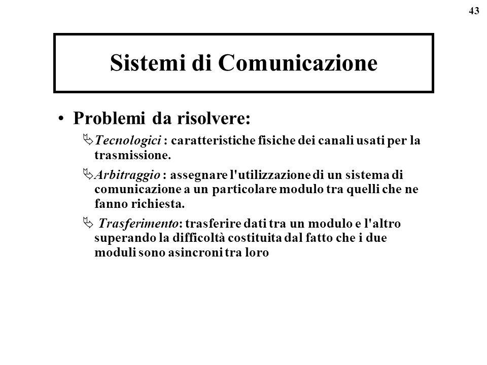 43 Sistemi di Comunicazione Problemi da risolvere: Tecnologici : caratteristiche fisiche dei canali usati per la trasmissione. Arbitraggio : assegnare