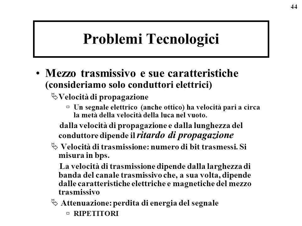 44 Problemi Tecnologici Mezzo trasmissivo e sue caratteristiche (consideriamo solo conduttori elettrici) Velocità di propagazione Un segnale elettrico (anche ottico) ha velocità pari a circa la metà della velocità della luca nel vuoto.