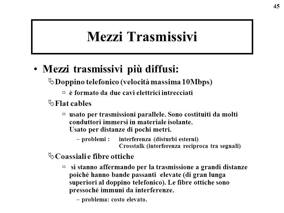 45 Mezzi Trasmissivi Mezzi trasmissivi più diffusi: Doppino telefonico (velocità massima 10Mbps) è formato da due cavi elettrici intrecciati Flat cables usato per trasmissioni parallele.