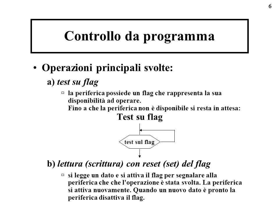 6 Controllo da programma Operazioni principali svolte: a) test su flag la periferica possiede un flag che rappresenta la sua disponibilità ad operare.