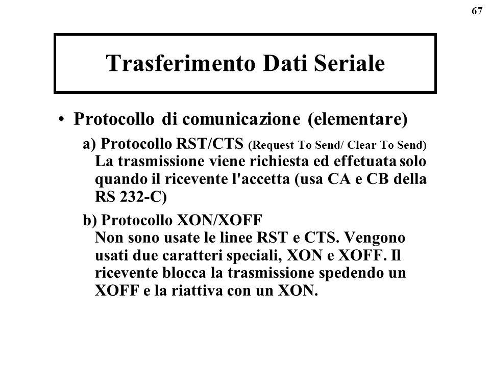 67 Trasferimento Dati Seriale Protocollo di comunicazione (elementare) a) Protocollo RST/CTS (Request To Send/ Clear To Send) La trasmissione viene richiesta ed effetuata solo quando il ricevente l accetta (usa CA e CB della RS 232-C) b) Protocollo XON/XOFF Non sono usate le linee RST e CTS.