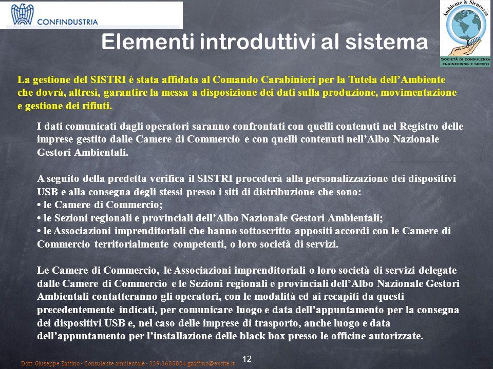 12 Elementi introduttivi al sistema I dati comunicati dagli operatori saranno confrontati con quelli contenuti nel Registro delle imprese gestito dalle Camere di Commercio e con quelli contenuti nellAlbo Nazionale Gestori Ambientali.