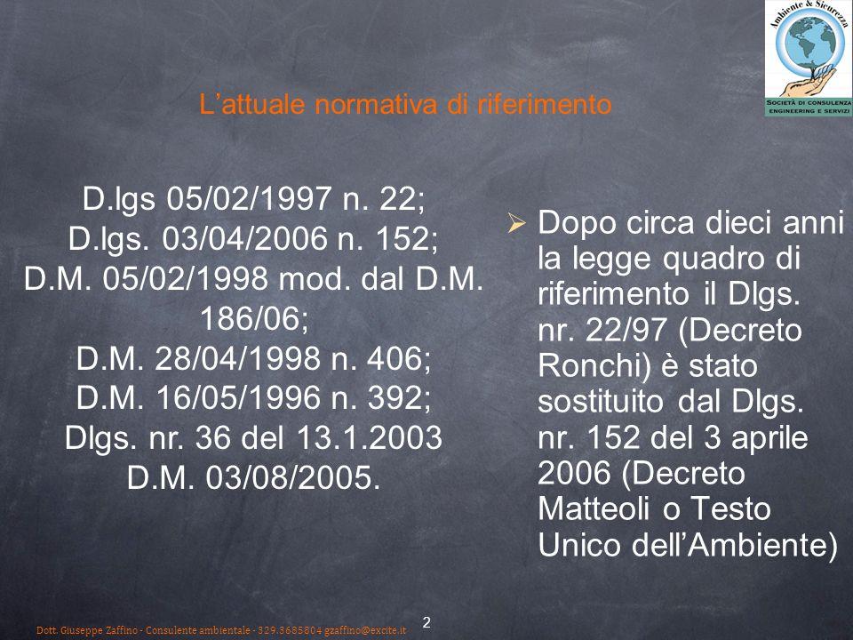 2 Lattuale normativa di riferimento Dopo circa dieci anni la legge quadro di riferimento il Dlgs. nr. 22/97 (Decreto Ronchi) è stato sostituito dal Dl