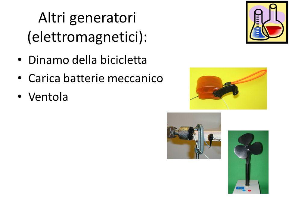 Altri generatori (elettromagnetici): Dinamo della bicicletta Carica batterie meccanico Ventola