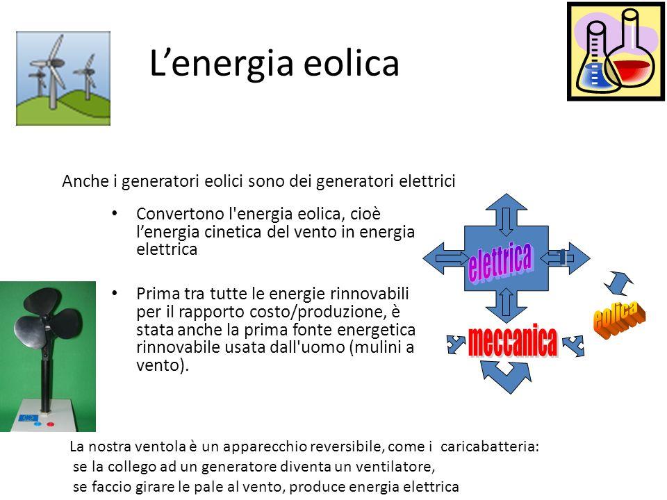 Lenergia eolica Convertono l'energia eolica, cioè lenergia cinetica del vento in energia elettrica Prima tra tutte le energie rinnovabili per il rappo