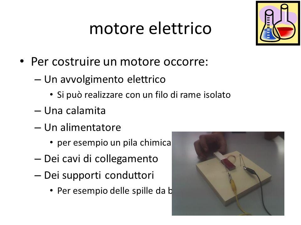 motore elettrico Per costruire un motore occorre: – Un avvolgimento elettrico Si può realizzare con un filo di rame isolato – Una calamita – Un alimen