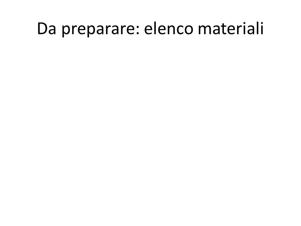 Da preparare: elenco materiali