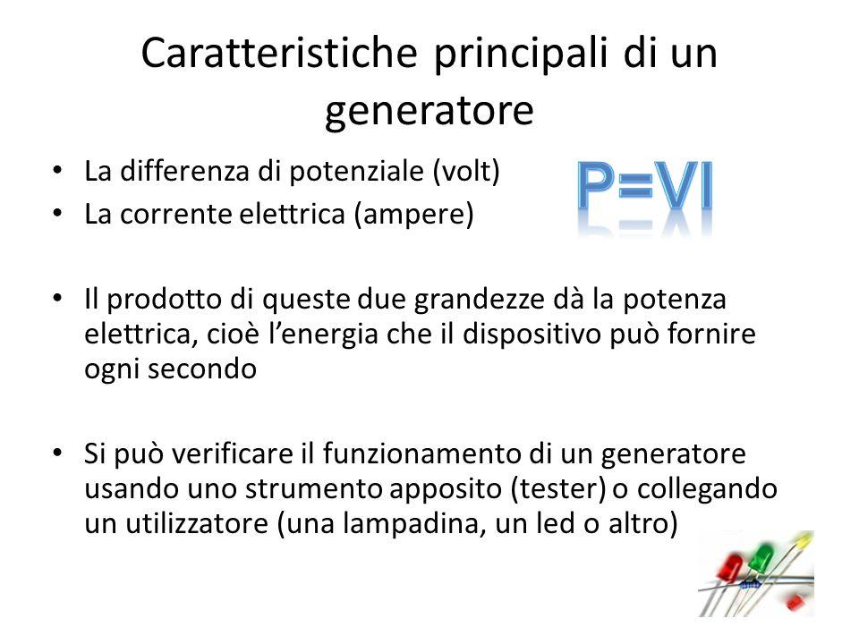 Caratteristiche principali di un generatore La differenza di potenziale (volt) La corrente elettrica (ampere) Il prodotto di queste due grandezze dà l