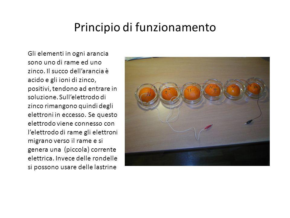 Principio di funzionamento Gli elementi in ogni arancia sono uno di rame ed uno zinco. Il succo dellarancia è acido e gli ioni di zinco, positivi, ten