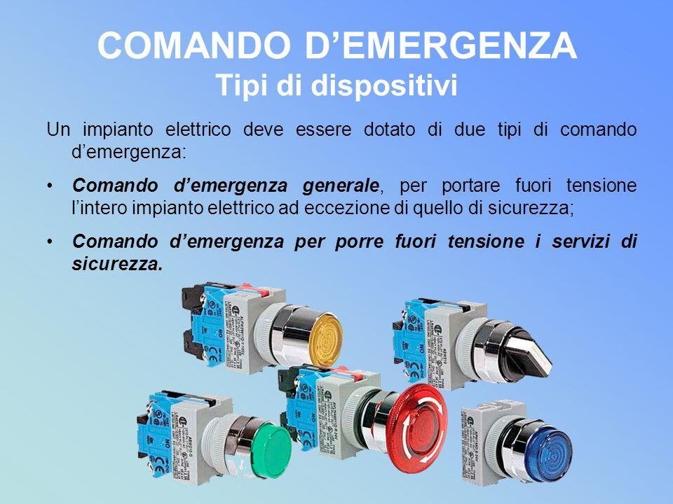 COMANDO DEMERGENZA Tipi di dispositivi Un impianto elettrico deve essere dotato di due tipi di comando demergenza: Comando demergenza generale, per po