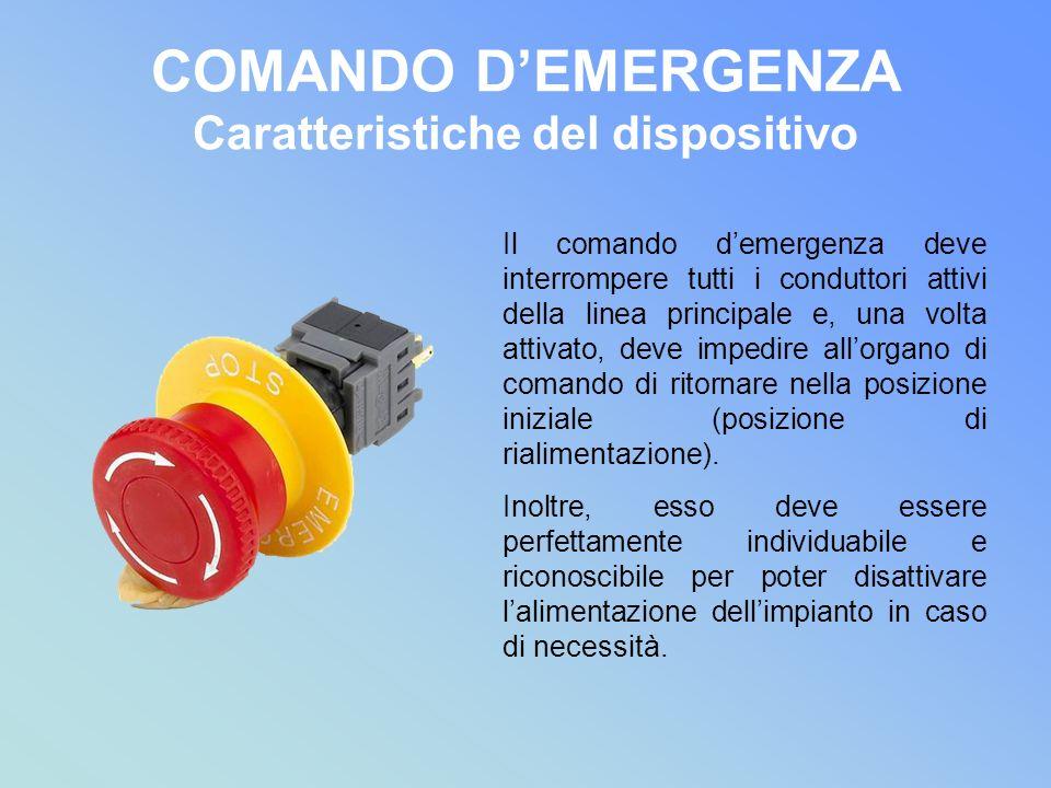 COMANDO DEMERGENZA Caratteristiche del dispositivo Il comando demergenza deve interrompere tutti i conduttori attivi della linea principale e, una vol