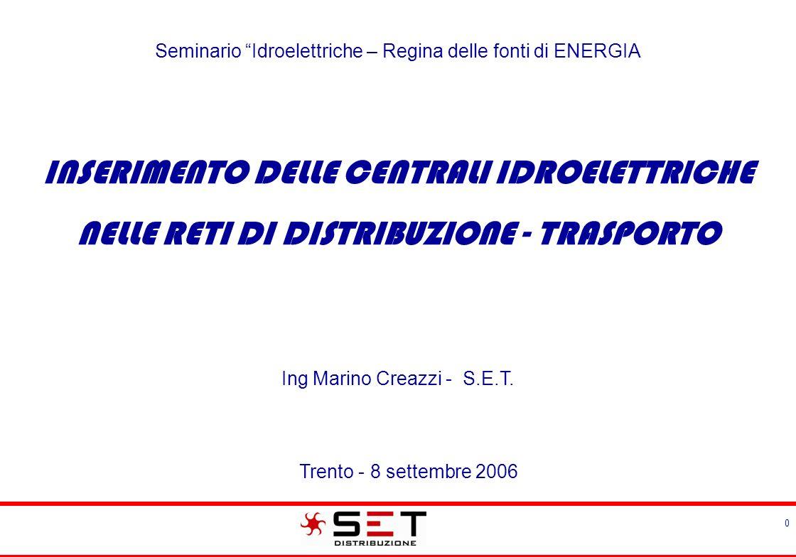 11 »Delibera AEEG 281/05 »Norma CEI 11-20 »DK 5740 »DK 5940 »DK 5600 Norme e prescrizioni per le modalità di connessione alla rete delle centrali idroelettriche