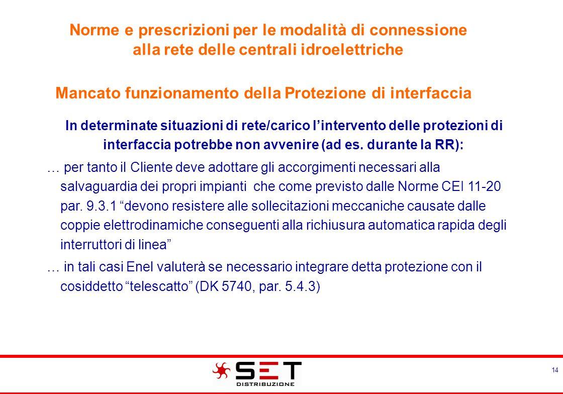 14 In determinate situazioni di rete/carico lintervento delle protezioni di interfaccia potrebbe non avvenire (ad es. durante la RR): … per tanto il C