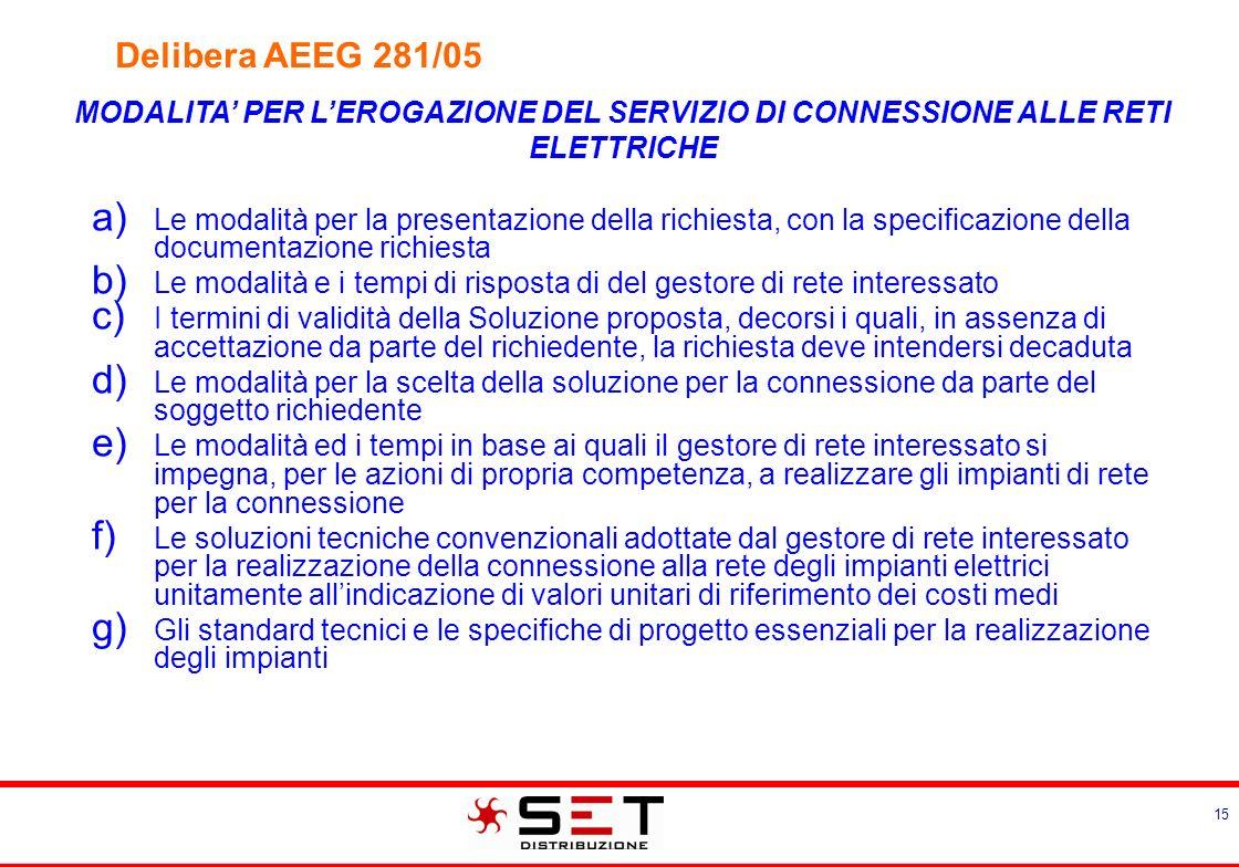 15 MODALITA PER LEROGAZIONE DEL SERVIZIO DI CONNESSIONE ALLE RETI ELETTRICHE Le modalità per la presentazione della richiesta, con la specificazione d