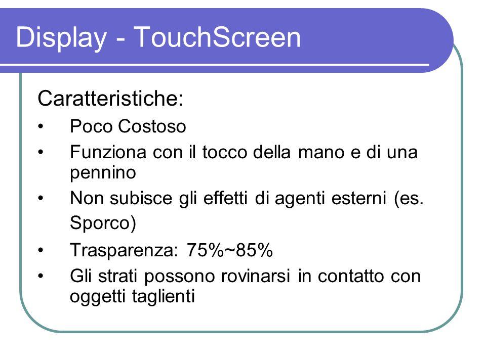 Caratteristiche: Poco Costoso Funziona con il tocco della mano e di una pennino Non subisce gli effetti di agenti esterni (es. Sporco) Trasparenza: 75