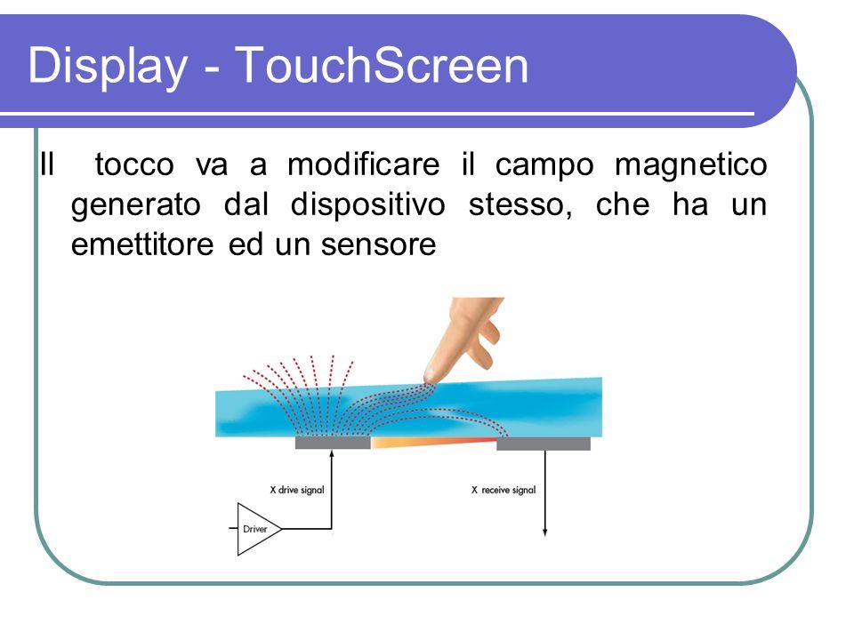 Il tocco va a modificare il campo magnetico generato dal dispositivo stesso, che ha un emettitore ed un sensore Display - TouchScreen