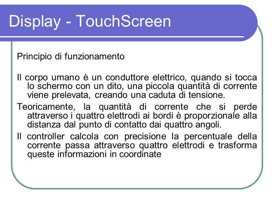 Principio di funzionamento Il corpo umano è un conduttore elettrico, quando si tocca lo schermo con un dito, una piccola quantità di corrente viene pr