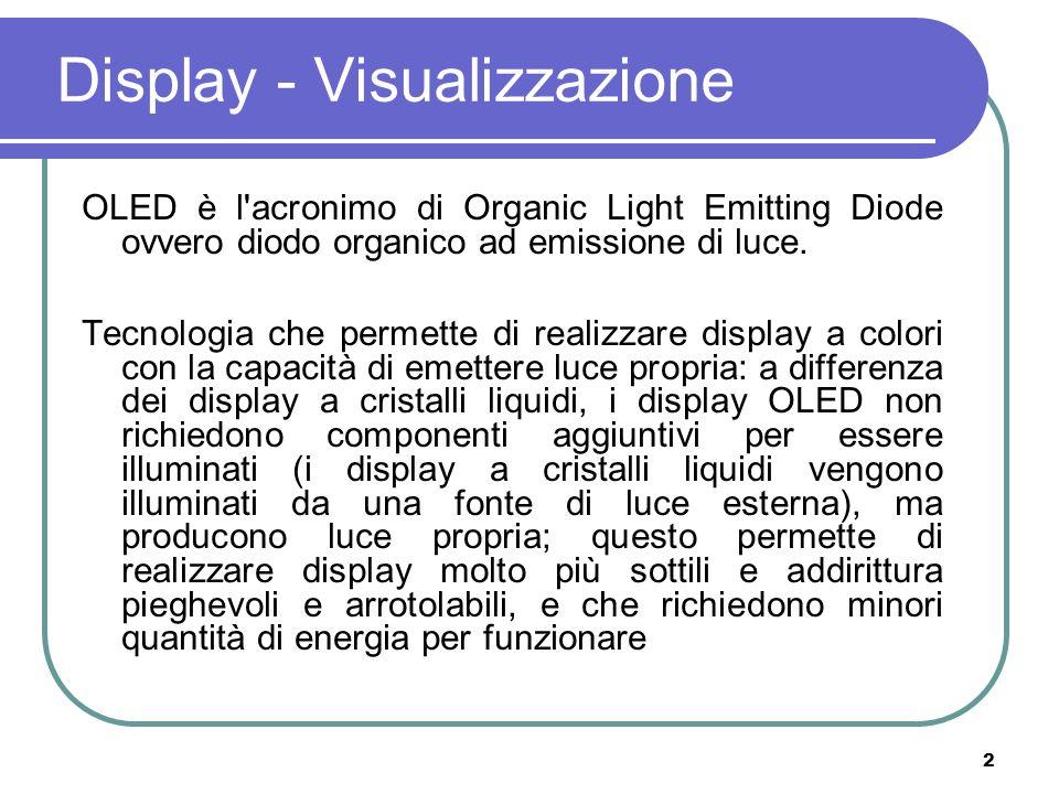 2 Display - Visualizzazione OLED è l'acronimo di Organic Light Emitting Diode ovvero diodo organico ad emissione di luce. Tecnologia che permette di r