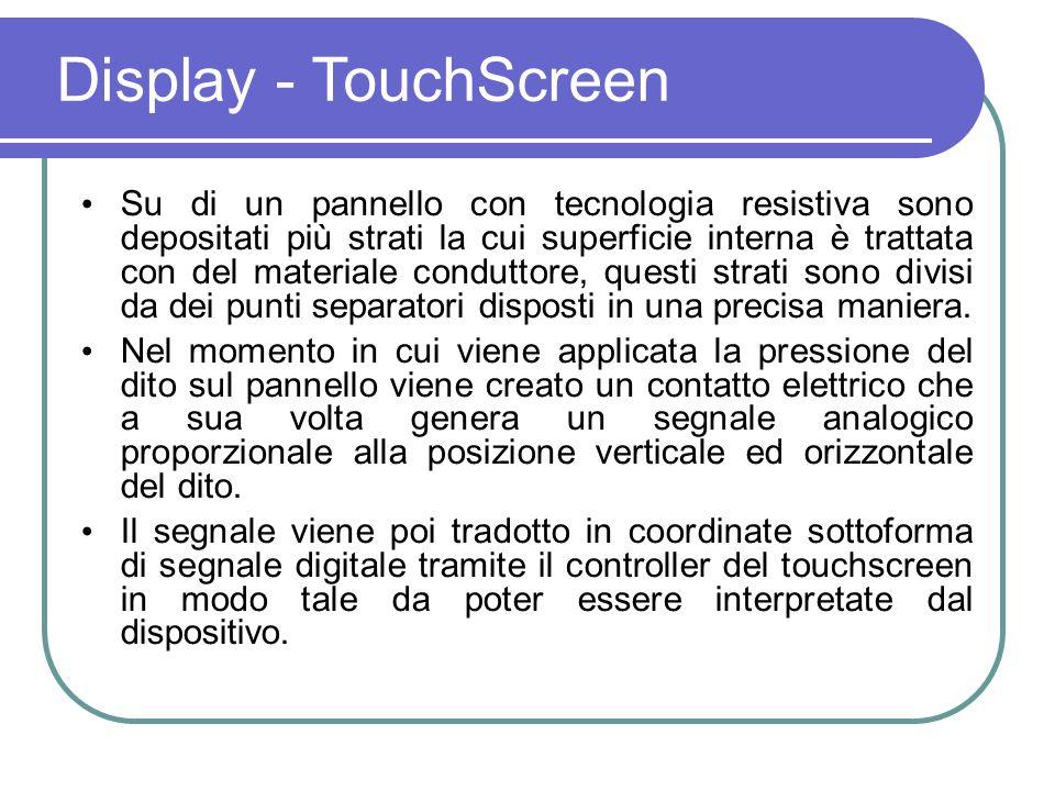 Struttura del touch screen resistivo E costituito da un pannello di vetro o acrilico, che è rivestito con strati elettricamente conduttivi e resistivi realizzati con ossido di indio e stagno (ITO).