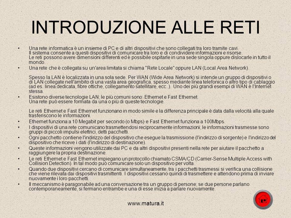 www.matura.it LE RETI INFORMATICHE 1. Introduzione alle reti 2. Topologia della rete 3. I protocolli 4. Il modello OSI 5.Apparati di rete 6.Sicurezza
