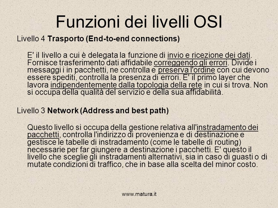 www.matura.it Funzioni dei livelli OSI Livello 7 Applicazione (Network Processes to Application) Si interfaccia direttamente con i programmi applicati