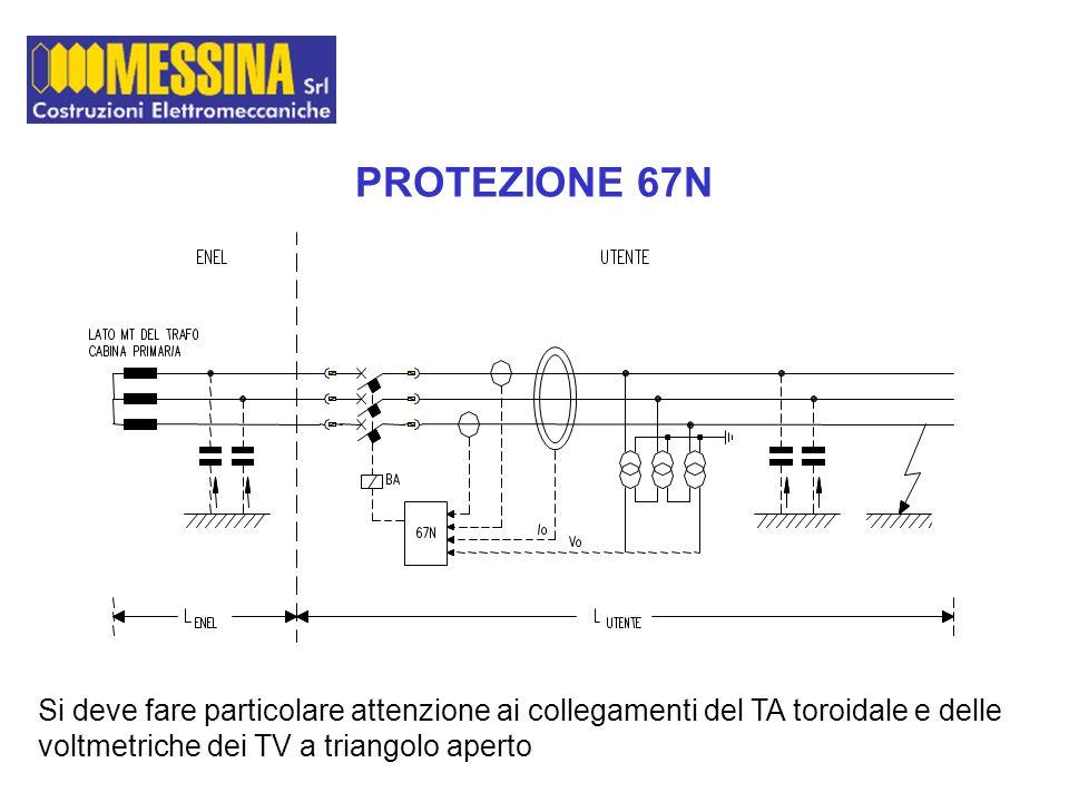 PROTEZIONE 67N Si deve fare particolare attenzione ai collegamenti del TA toroidale e delle voltmetriche dei TV a triangolo aperto