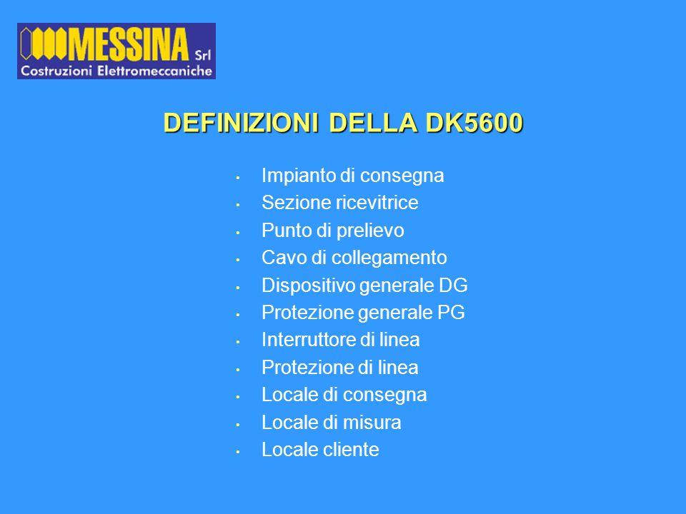 DEFINIZIONI DELLA DK5600 Impianto di consegna Sezione ricevitrice Punto di prelievo Cavo di collegamento Dispositivo generale DG Protezione generale P