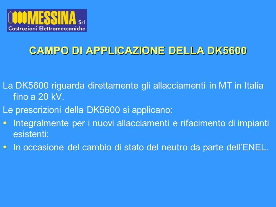 CAMPO DI APPLICAZIONE DELLA DK5600 La DK5600 riguarda direttamente gli allacciamenti in MT in Italia fino a 20 kV. Le prescrizioni della DK5600 si app