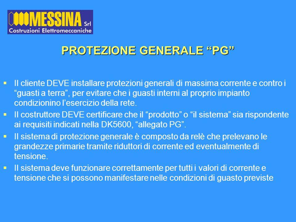 PROTEZIONE GENERALE PG Il cliente DEVE installare protezioni generali di massima corrente e contro i guasti a terra, per evitare che i guasti interni