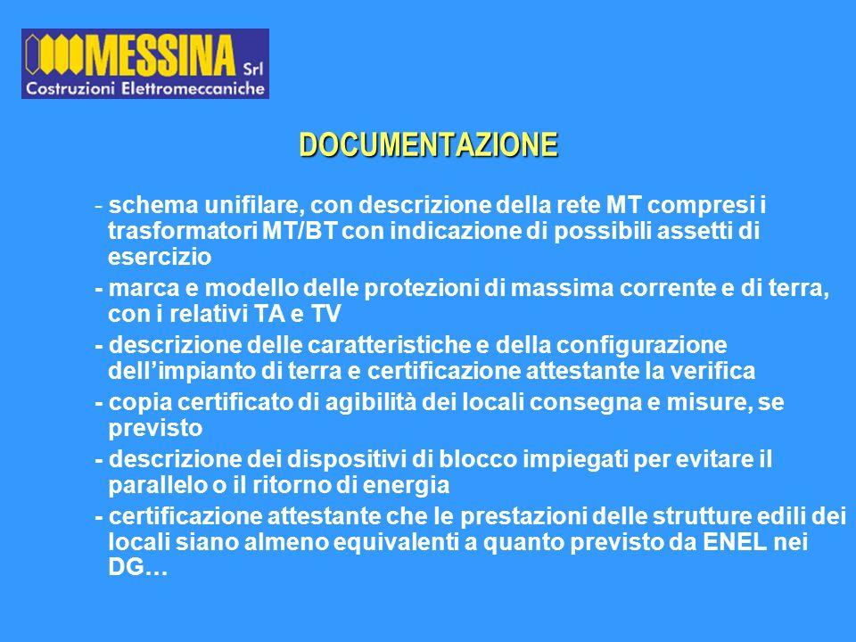- schema unifilare, con descrizione della rete MT compresi i trasformatori MT/BT con indicazione di possibili assetti di esercizio - marca e modello d