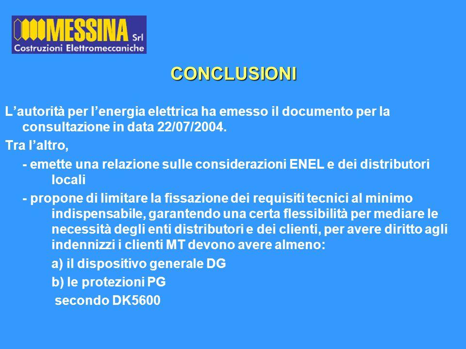 CONCLUSIONI Lautorità per lenergia elettrica ha emesso il documento per la consultazione in data 22/07/2004. Tra laltro, - emette una relazione sulle