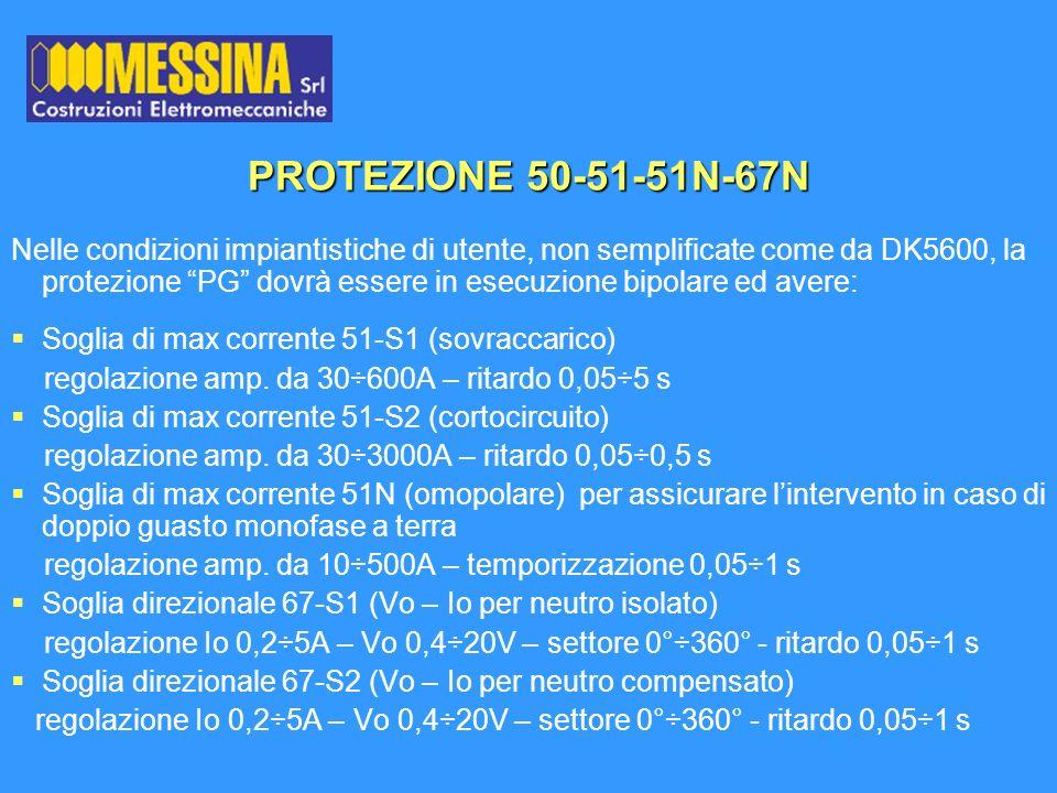 PROTEZIONE 50-51-51N-67N Nelle condizioni impiantistiche di utente, non semplificate come da DK5600, la protezione PG dovrà essere in esecuzione bipol