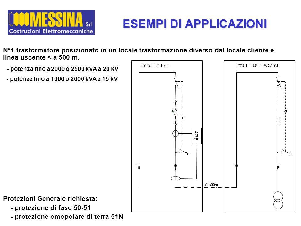 Protezioni Generale richiesta: - protezione di fase 50-51 - protezione omopolare di terra 51N N°1 trasformatore posizionato in un locale trasformazion